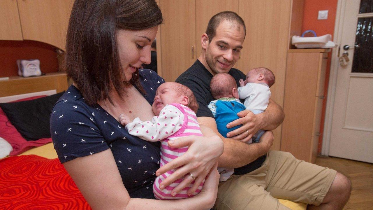 Sápi András és felesége, Ágnes csapatmunkában látják el ikreiket. Fotó: Kuklis István, delmagyar.hu