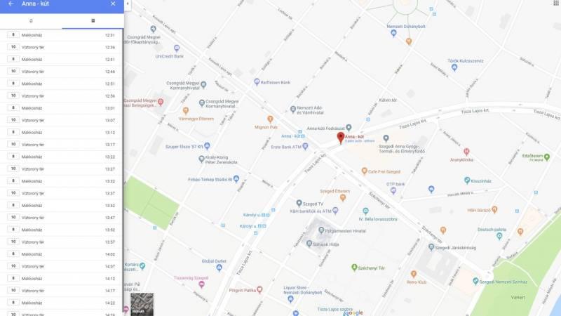 Beépült a Google térképébe a szegedi menetrend